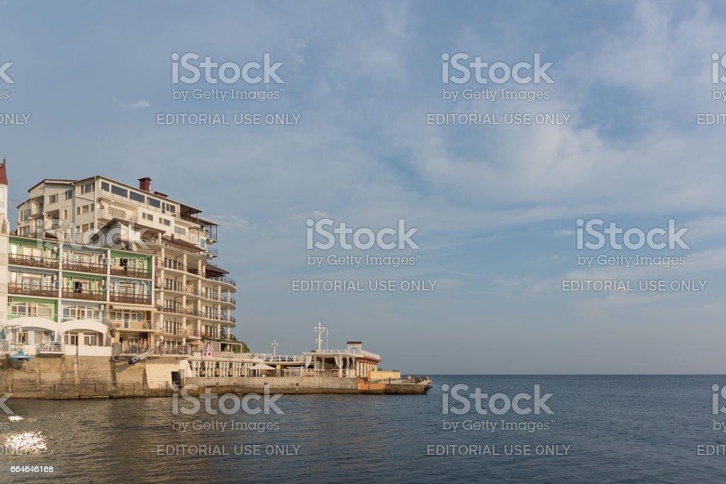 MASSANDRA, CRIMEA, RUSSIA - SEPTEMBER 14.2016: the restaurant and the beach Yacht club stock photo