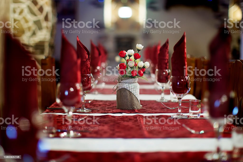 The restaurant .Empty restaurant. Table setting. Prepare for a...