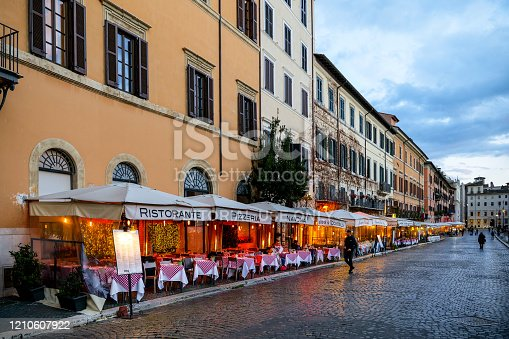 istock The typical Italian restaurants of Piazza Navona in Rome seem empty and without tourists 1210607922