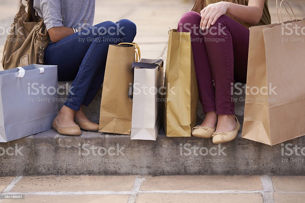 The result of a shopping spree stock photo