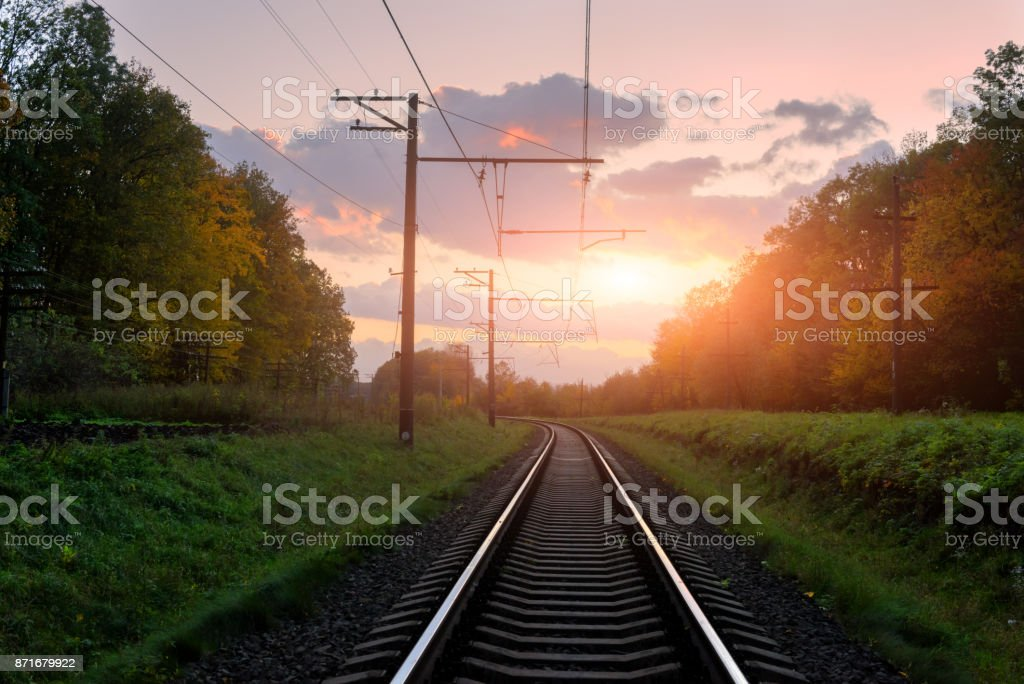 The retreating railway stock photo