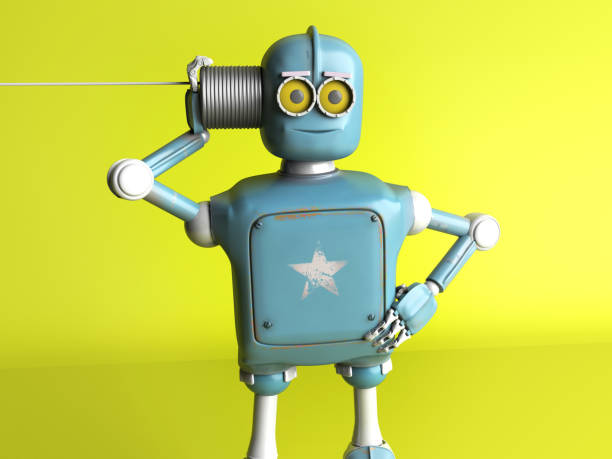 The retro robot with tin can phone. 3d render. The retro robot with tin can phone. 3d render. verbaasd stock pictures, royalty-free photos & images