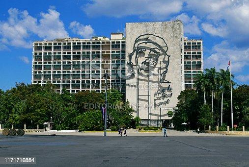 HAVANA, CUBA, February 26, 2019 :  La plaza de la revolucion with Che Guevara.
