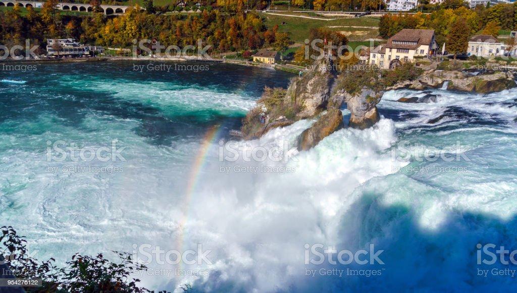 Waterval Rijn Zwitserland.De Waterval Van De Rijn In De Buurt Van Zurich Op Indian