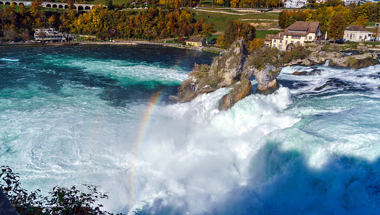The Rhine Falls near Zurich at Indian summer, waterfall in Switzerland