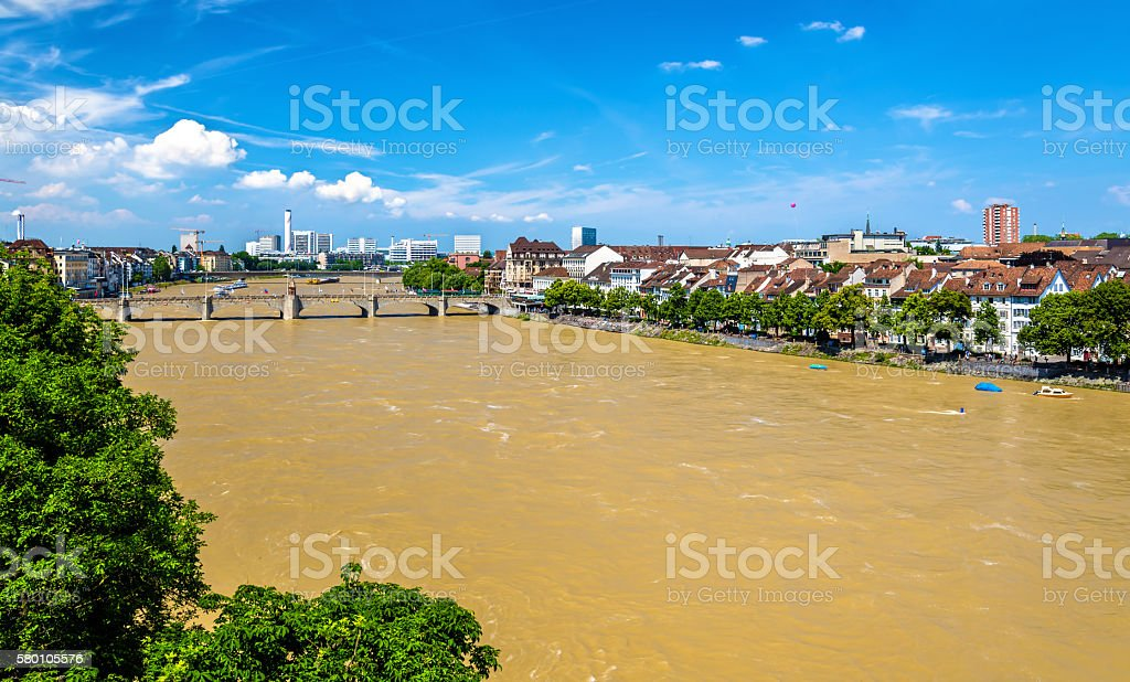 The Rhine river in Basel, Switzerland – Foto