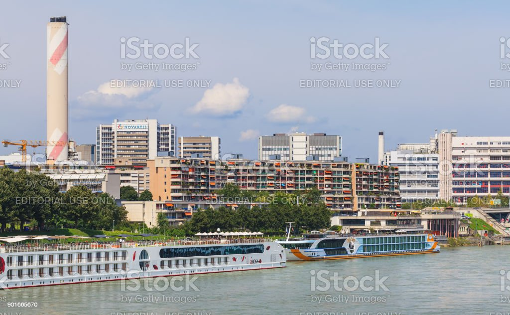 The Rhine river in the city of Basel, Switzerland