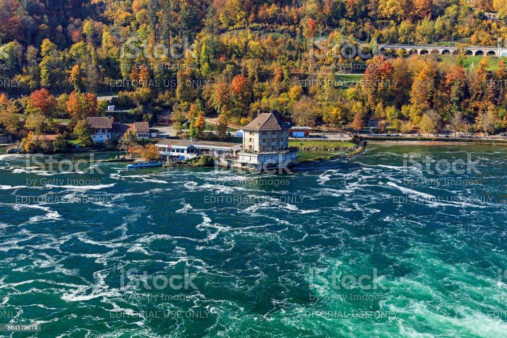 The Rhine river just below the Rhine Falls waterfall in Switzerland royalty-free stock photo