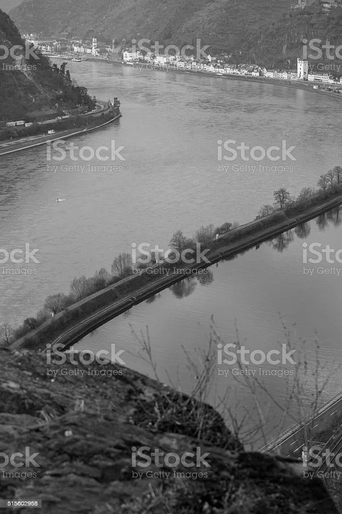 the rhine valley from loreley rock in germany sw stock photo