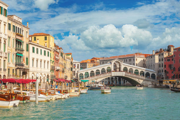 The Rialto Bridge and the Grand Canal in Venice, Italy stock photo