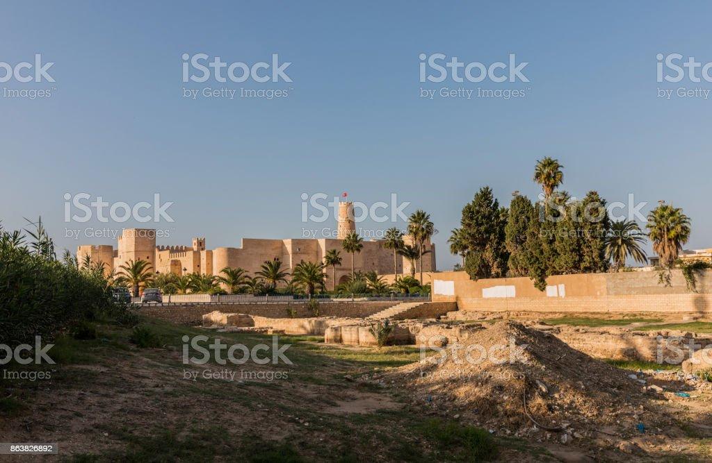 The Ribat in Monastir is nearly 1,200 years old in Monastir. Tunisia stock photo
