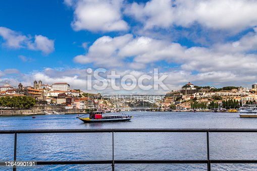 The Ribeira or riverside in Porto with Luís I Bridge seen accross the Douro river with its rabelo boats used to bring the wine barrels from up the river, a popular tourist destination and one of UNESCO's World Heritage Sites.
