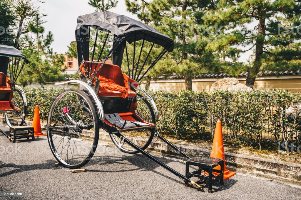 The Rickshaw, a two wheeled human powered taxi in Kyoto, Japan, Asia stock photo