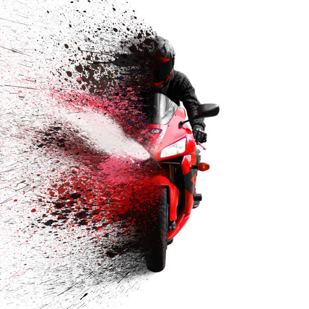 the rider on the red sport motorcycle helmet with a black visor. shatters into spray. isolated on white background - biker stock photos and pictures