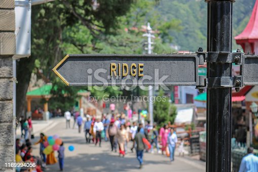 The Ridge road sign/street name. The Ridge road is a large open space, located in the center of Shimla, the capital city of Himachal Pradesh, India. The Ridge is the hub of all cultural activities.