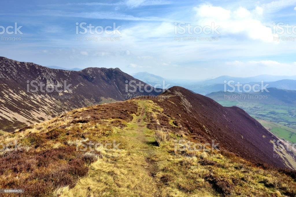 The ridgeline along to Ard Crags stock photo