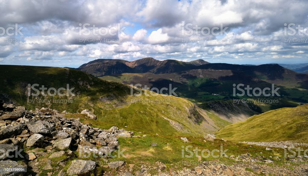 The ridgeline of High Crags and Scope End stock photo