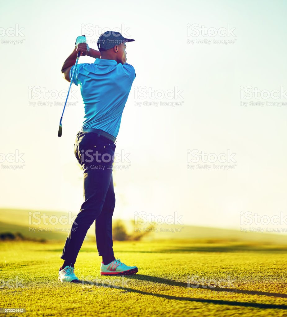 The right follow through makes all the difference stock photo