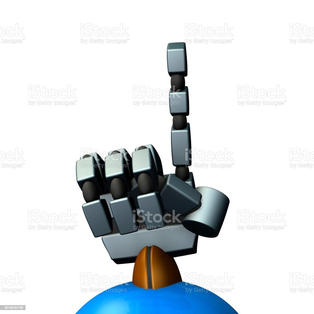 The right hand of a robot. It stands the index finger. stock photo