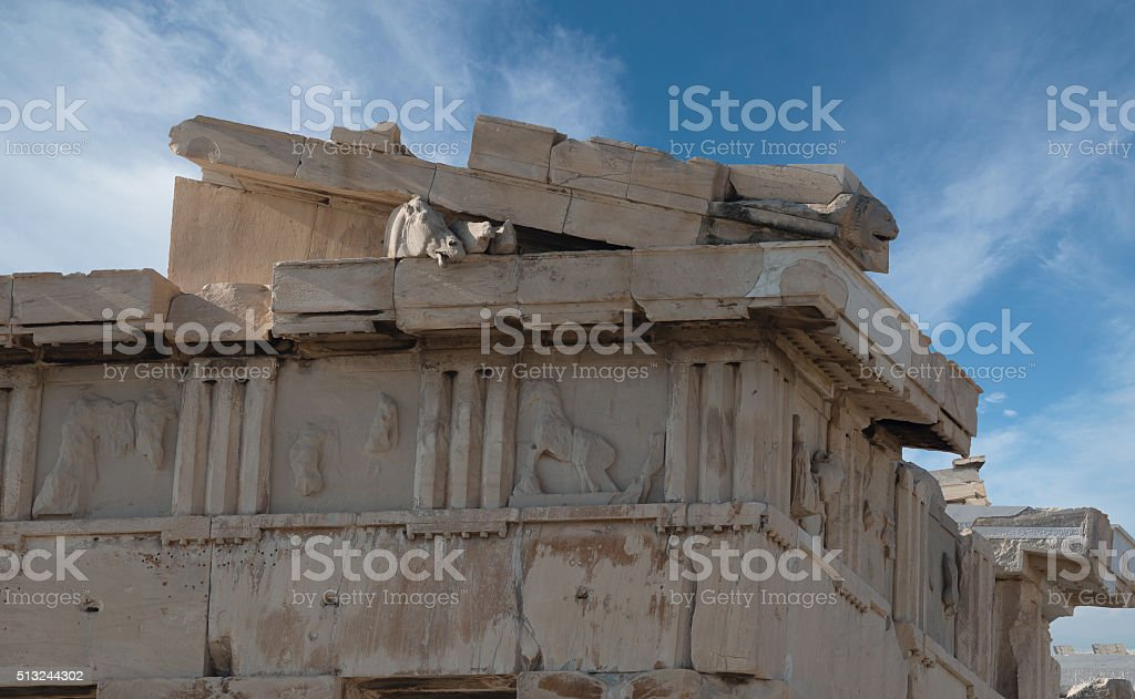 The right pediment of Acropolis stock photo