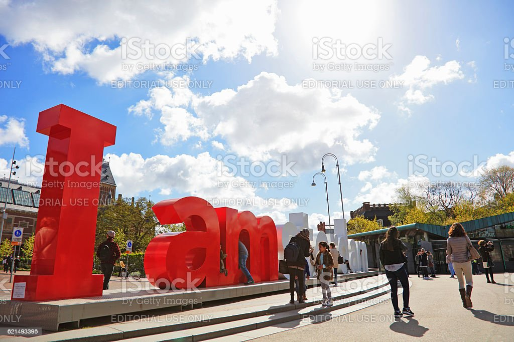 The Rijksmuseum and I Amsterdam sign foto stock royalty-free