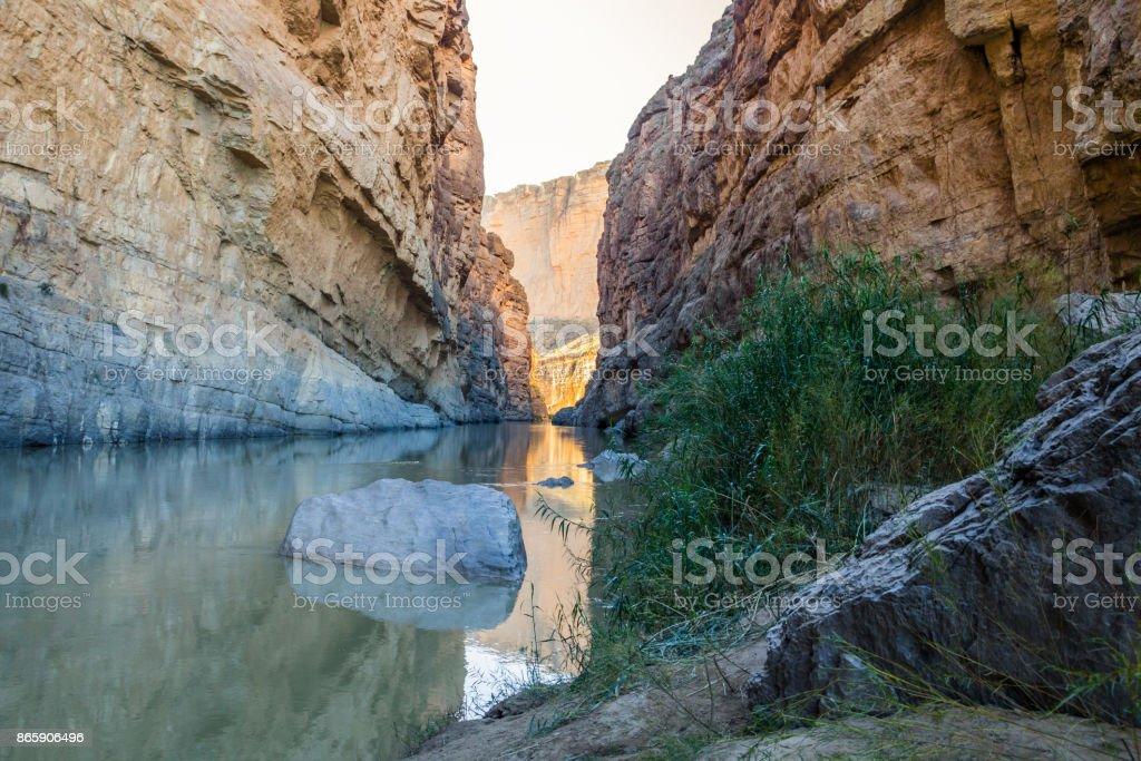The Rio Grande and Santa Elena Canyon, Big Bend, Texas stock photo