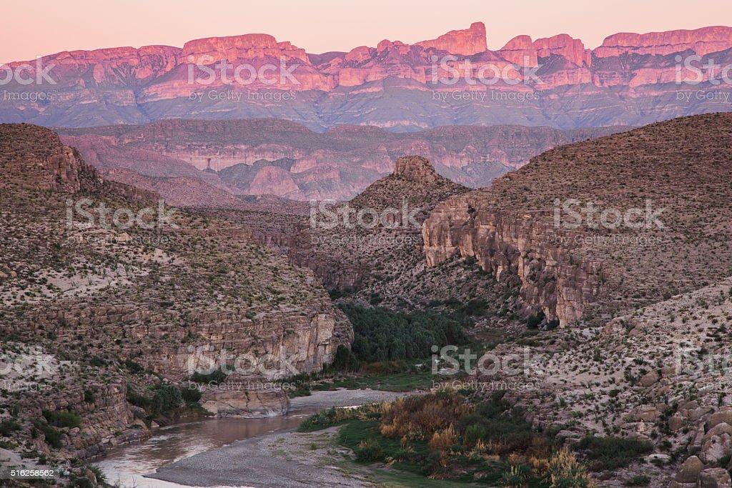 The Rio Grande and Sierra del Carmens stock photo