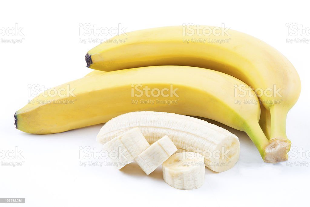 The ripe bananas with pieces stock photo