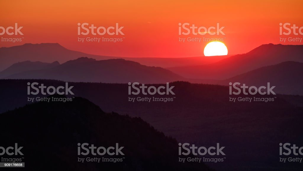 The rising sun stock photo