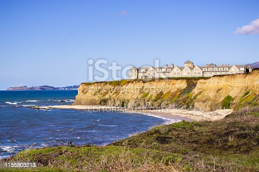 January 5, 2017 Half Moon Bay / CA / USA - The Ritz Carlton Hotel on the Pacific Ocean Coastline on top of eroded cliffs