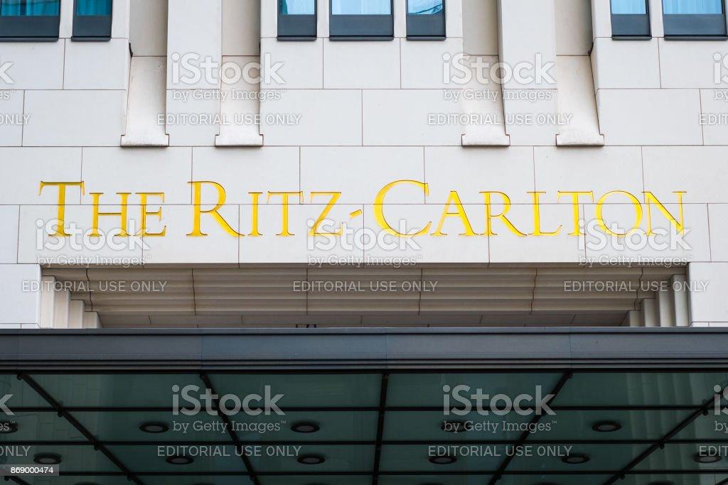 The Ritz Carlton logo on the  building exterior of the Ritz Carlton Hotel in Berlin stock photo