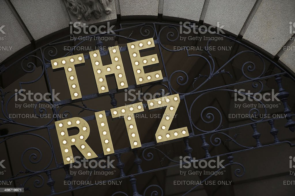 The Ritz Hotel London Sign in Lights stock photo