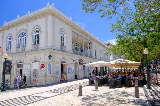 The Ritz Madeira cafe restaurant on the Avenida Arriaga in Funchal Madeira during a beautiful summer day stock photo
