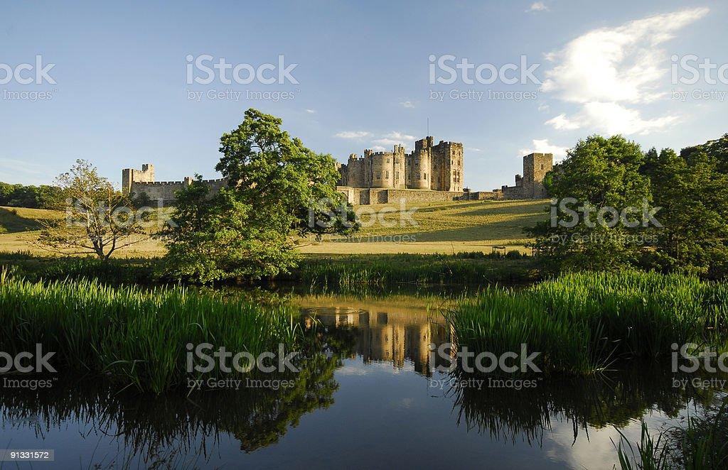 The river Aln next to Alnwick Castle stock photo