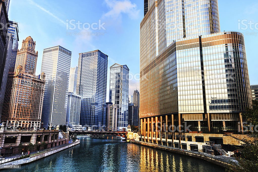 The River at sunrise, downtown Chicago stock photo