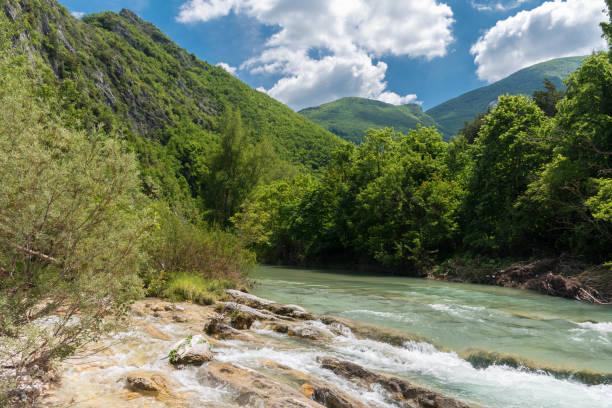 The river Candigliano in the slopes of mount Nerone, near Piobbico (Italy, Pesaro-Urbino province) stock photo