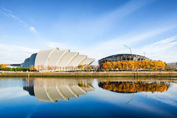 The River Clyde in Glasgow with blue sky stock photo