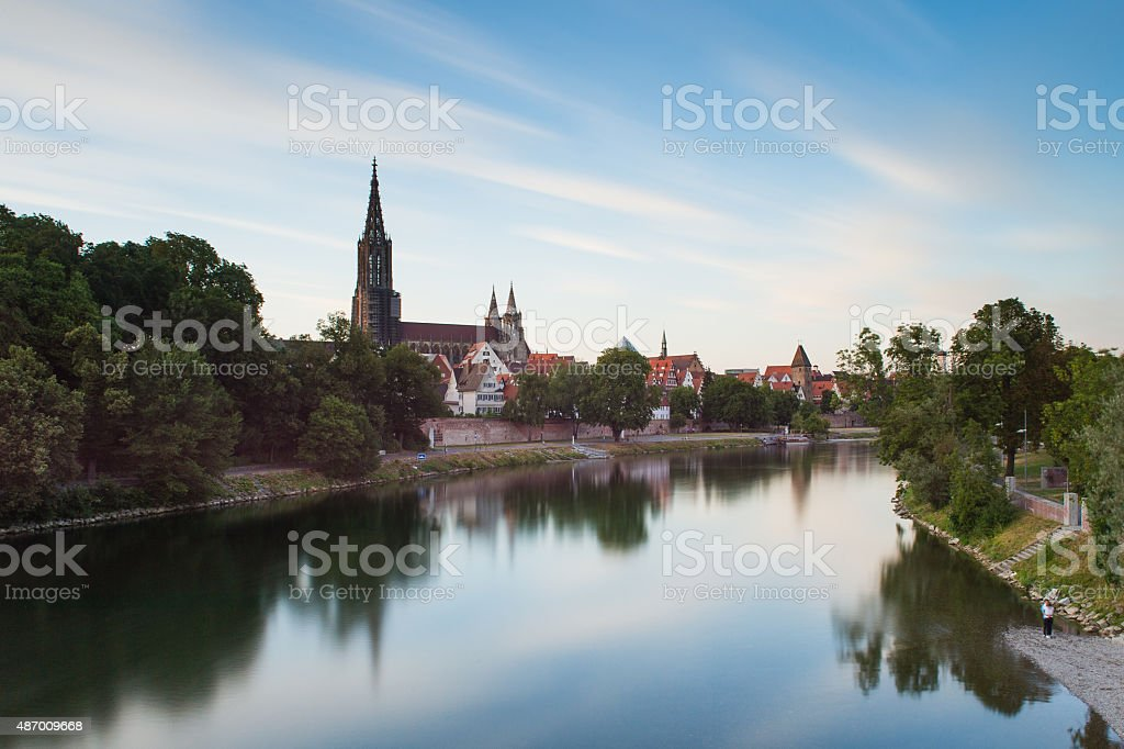The river Danube and the Ulm skyline stock photo