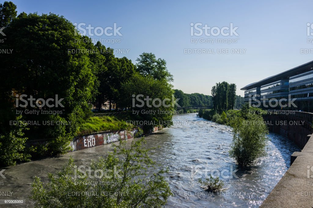 The river Dora has swollen after the rains of May 2018 - foto stock