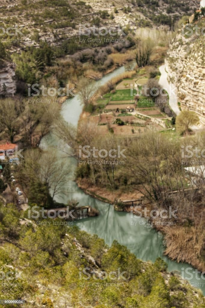 The River Jucar between vegetation stock photo