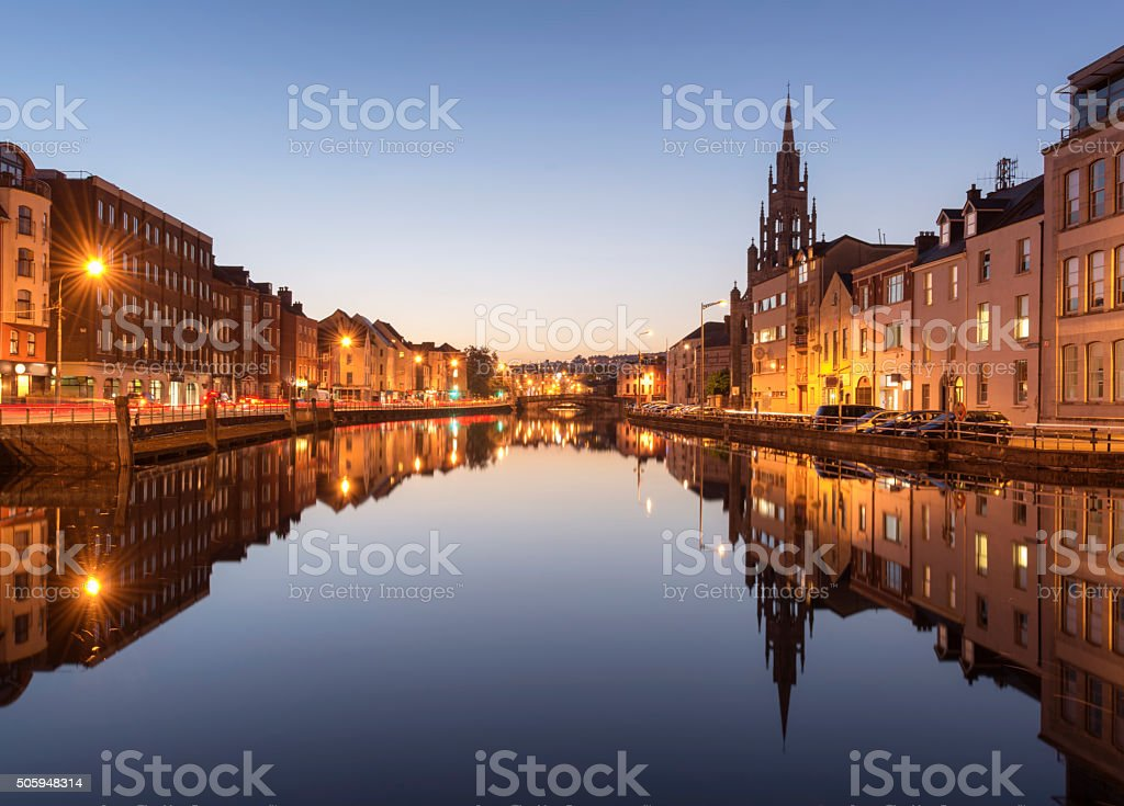 The River Lee in Cork City, Ireland at Night. stock photo