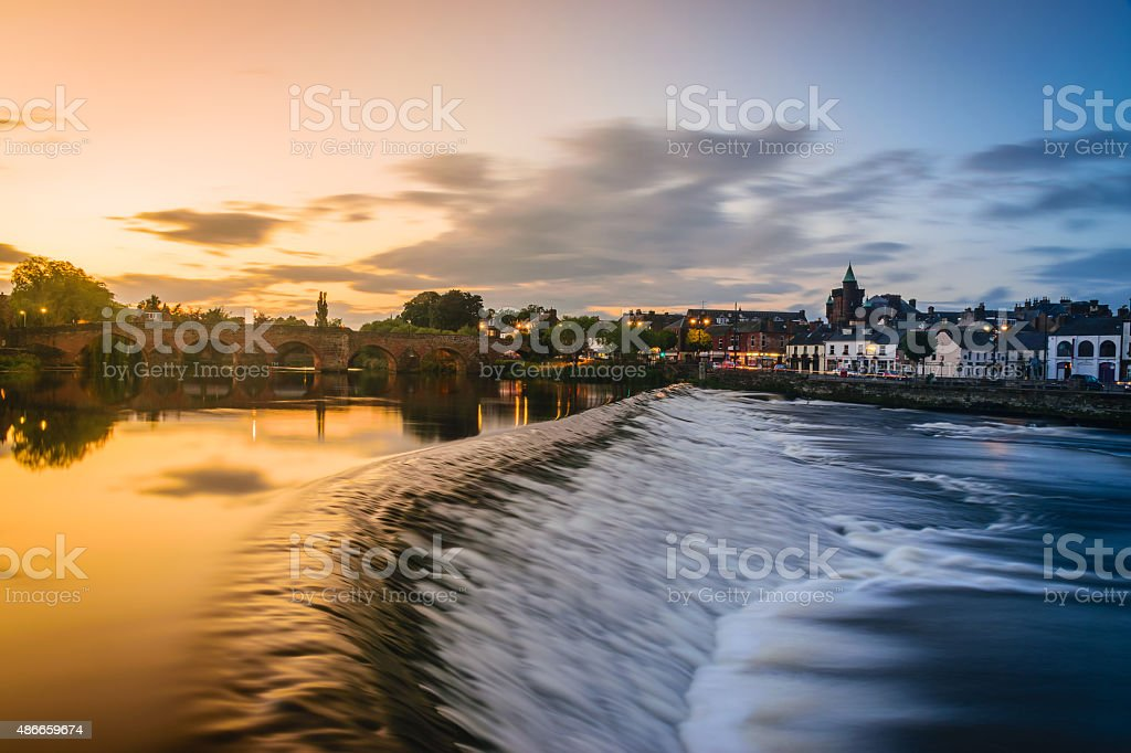 The River Nith and old bridge at Dumfries, Scotland. stock photo