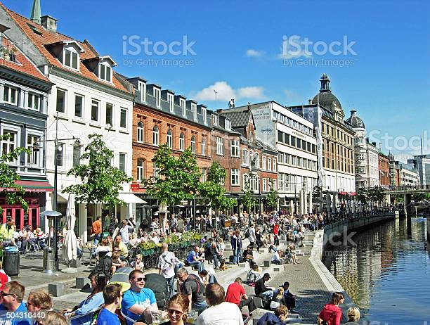 The River Of Aarhus In Midtbyen Stock Photo - Download Image Now