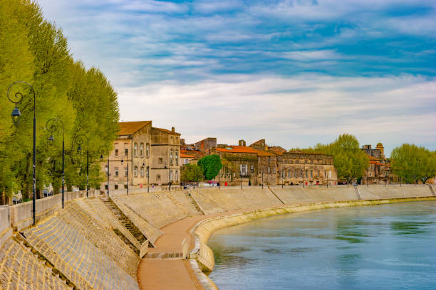 The river Rhone at Arles overlooking the old town. Buches du Rhone stock photo