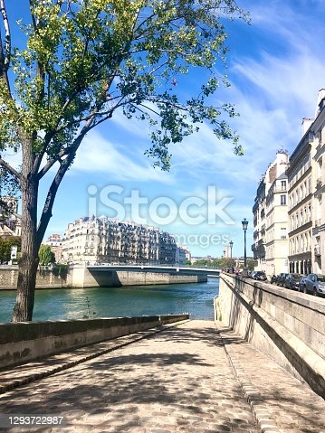 A quiet view of Paris by the River Seine