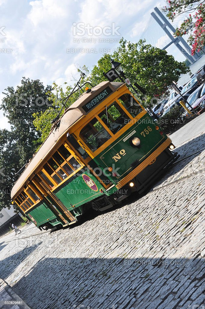 The River Street Streetcar in Savannah stock photo