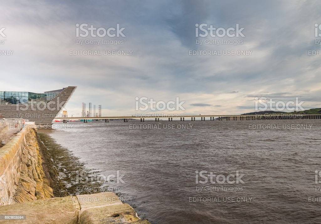 The River Tay Dundee & the Tay Road Bridge. stock photo
