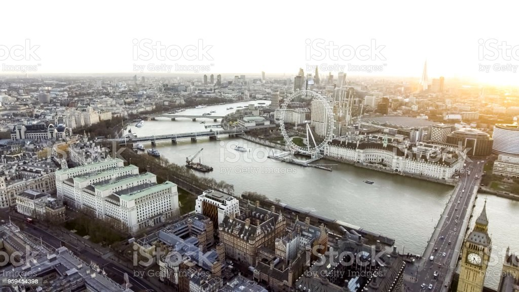 The River Thames passes through the Centre of London Touristic District stock photo