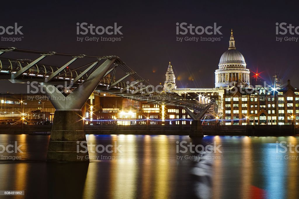 The river Thames seen from the South Bank in London stock photo