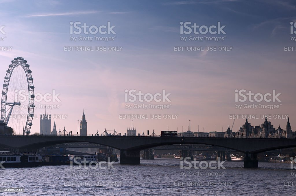 The River Thames, Waterloo Bridge and London skyline in winter royalty-free stock photo